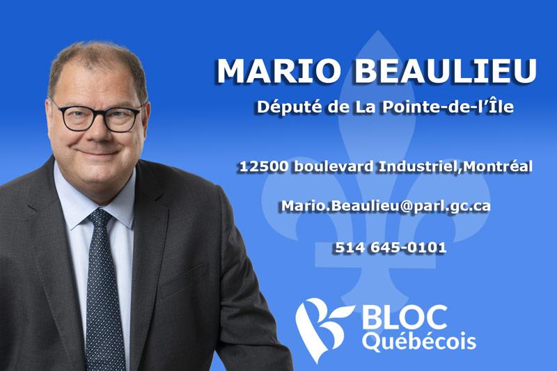 Mario Beaulieu, député Bloc Québécois La Pointe-de-l'Île